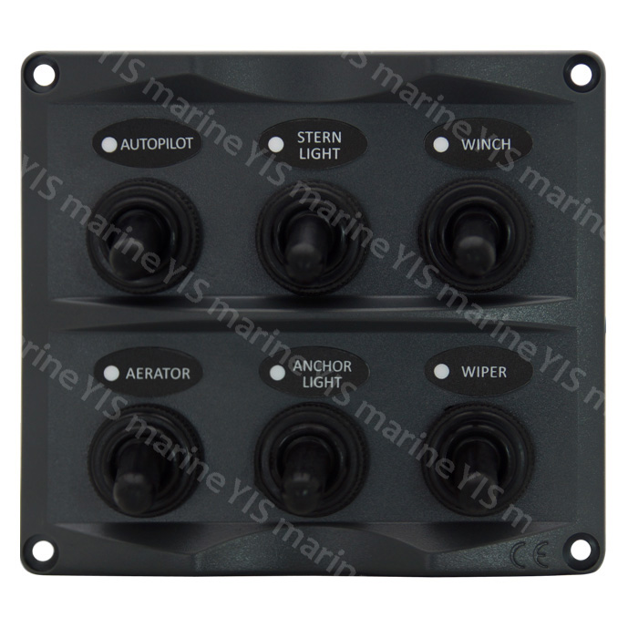 SP2116-6P Toggle Switch Panel - SP2116-6P Modern Design Toggle Switch Panel (Dark Gray)