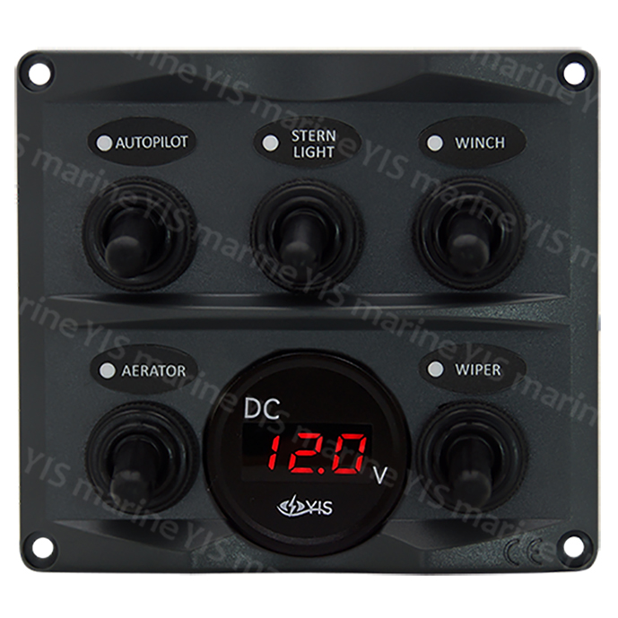 SP2125G-5P Toggle Switch Panel with Digital Battery Gauge - SP2125G-5P Modern Design Toggle Switch Panel with  Digital Battery Gauge (Dark Gray)