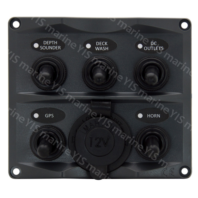 SP2125P-5P Toggle Switch Panel with Cig. Lighter - SP2125P-5P Modern Design Toggle Switch Panel with Cig.Lighter Socket (Dark Gray)
