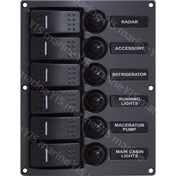 6P Streamline Water-resistant Switch Panel - SP3116P-6P Streamline Water-resistant LED Switch Panel with Circuit Breakers