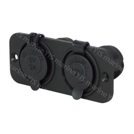 AS245-2 Gang Flush Mount Panel for Marine Sockets