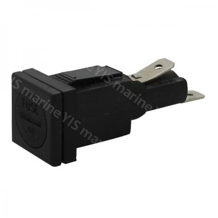 BF105-AGC Fuse Holder - BF105-Square Panel Mount AGC Fuse Holder with Slotted Bayonet Cap and Quick Connect Termina
