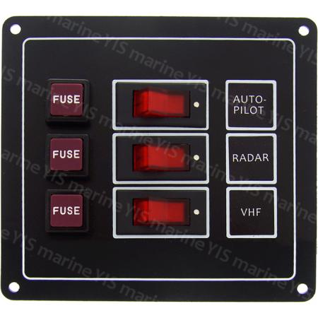 3P Classic Switch Panel - SP1113F-3P Classic Rocker Switch Panel with Fuses (Black)