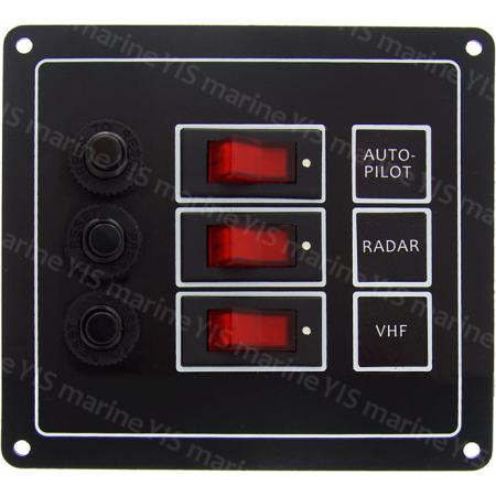 3P Classic Switch Panel - SP1113P-3P Classic Rocker Switch Panel with Circuit Breakers (Black)