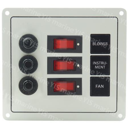 3P Classic Switch Panel - SP1123P-3P Classic Rocker Switch Panel with Circuit Breakers (White)