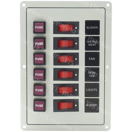 SP1126F-6P Классическая панель переключателей - SP1026F-6P Классическая панель кулисного переключателя с предохранителями (белая)