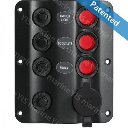 SP1223AP-Wave Design Switch Panel with Cig. Lighter Socket - SP1223AP-3P Wave Design LED Switch Panel with Cigarette Lighter Socket and Retainer (without Cigarette Lighter)