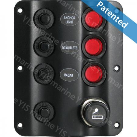 SP1223BP-Wave Design Switch Panel with Cig. Lighter - SP1223BP-3P Wave Design LED Switch Panel with Cigarette Lighter Socket and Retainer (with Cigarette Lighter)