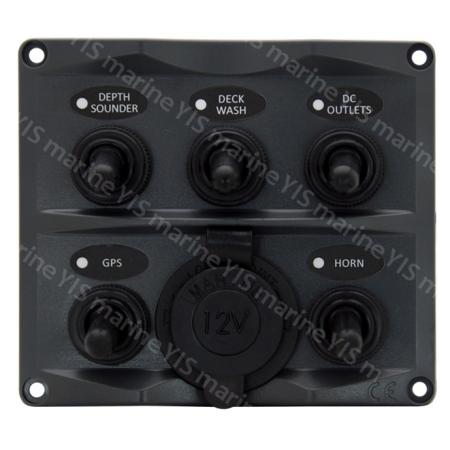 SP2125P-5P Toggle Switch Panel with Cig. Lighter