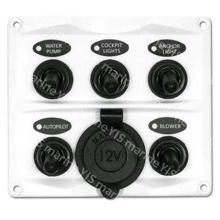 5P Toggle Switch Panel with Cig. Lighter (White) - SP2146P-5P Modern Design Toggle Switch Panel with Cig.Lighter Socket (White)