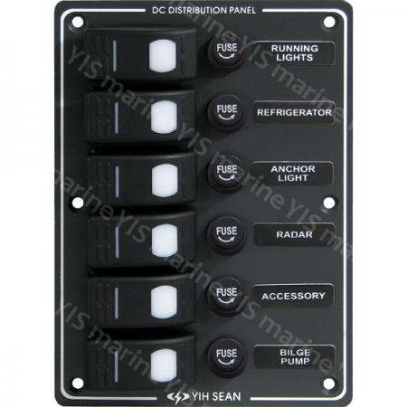 sp3016f-6p water-resistant switch panel (fuse) | industrial and marine  switch supply | yis marine  yis marine