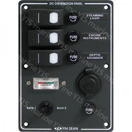 Switch Panel with Battery Gauge & Cig. Socket - SP3033F-Water-resistant Switch Panel with Cig. Socket and Battery Gauge