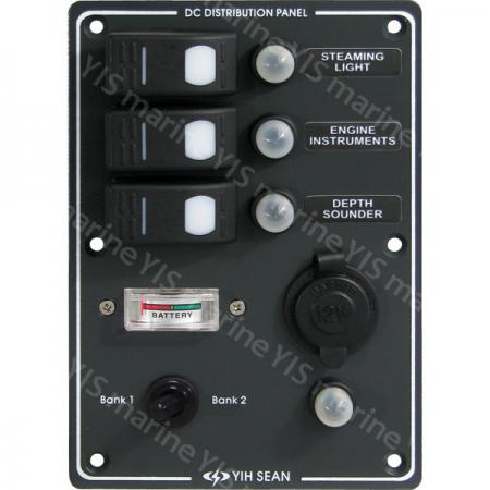 SP3033P-Switch Panel with Battery Gauge & Cig. Socket - SP3033PWater-resistant Switch Panel with Cig. Socket and Battery Gauge