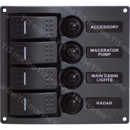 SP3114P-4P Streamline Water-resistant Switch Panel - SP3114P-4P Streamline Water-resistant LED Switch Panel with Circuit Breakers