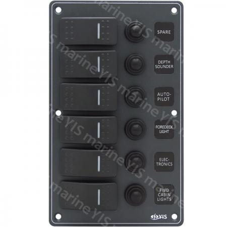 SP3216P-6P Aluminum Water-resistant Switch Panel - SP3216P-6P Water-resistant Switch Panel with Backlight Modules (Dark Gray)