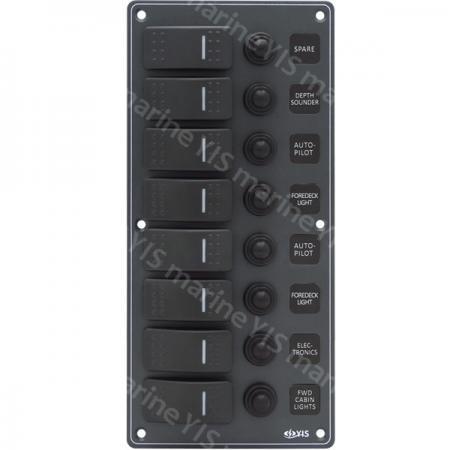 8P Aluminum Water-resistant Switch Panel - SP3218P-8P Water-resistant Switch Panel with Backlight Modules (Dark Gray)