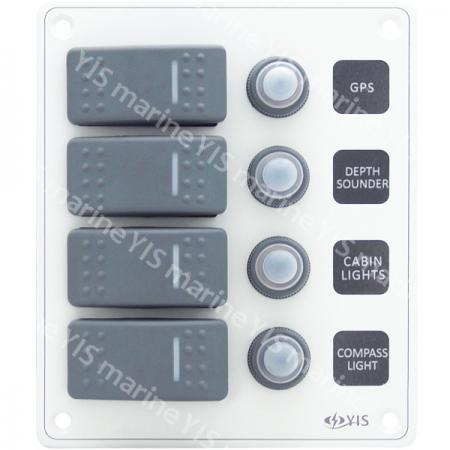 SP3224P-4P Water-resistant Switch Panel with Backlight Modules (White)