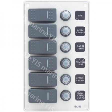SP3226P-6P Aluminum Water-resistant Switch Panel - SP3226P-6P Water-resistant Switch Panel with Backlight Modules (White)