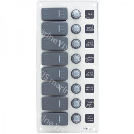SP3228P-8P Алюминиевая водонепроницаемая панель переключателей - SP3228P-8P Водонепроницаемая панель переключателей с модулями подсветки (белая)