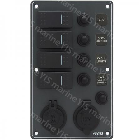 Aluminum Switch Panel with Cig. Light & USB Charger Sockets - SP3234P-Water-resistant Switch Panel with USB Charger and Cig. Lighter Socket (Dark Gray)