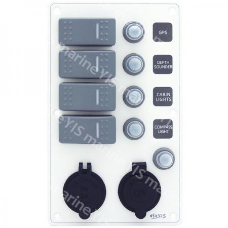 Aluminum Switch Panel with Cig. Light & USB Charger Sockets - SP3244P-Water-resistant Switch Panel with USB Charger and Cig. Lighter Socket (White)