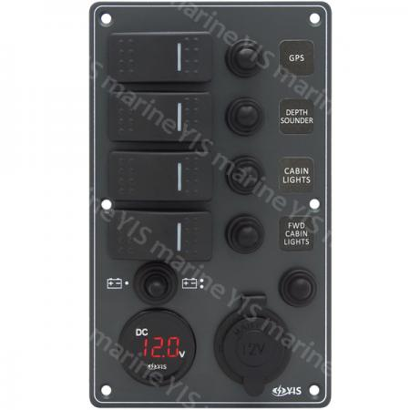 Aluminum Switch Panel with Battery Gauge & Cig. Lighter Socket - SP3254P-Water-resistant Switch Panel with Battery Gauge Socket and Cig. Lighter (Dark Gray)