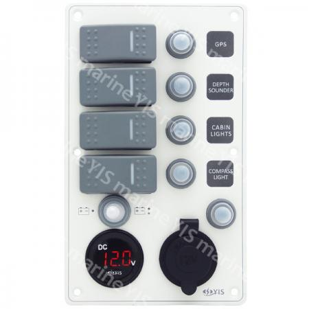 Aluminum Switch Panel with Battery Gauge & Cig. Lighter Socket - SP3264P-Water-resistant Switch Panel with Battery Gauge Socket and Cig. Lighter (White)