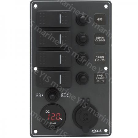 Aluminum Switch Panel with Battery Gauge & USB Charger Socket - SP3274P-Water-resistant Switch Panel with Battery Gauge Socket and USB Charger (Dark Gray)