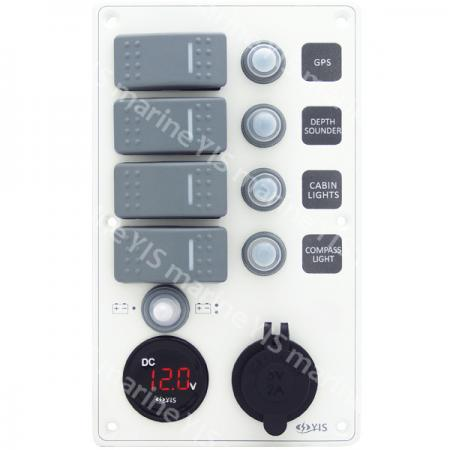 Aluminum Switch Panel with Battery Gauge & USB Charger Socket - SP3284P-Water-resistant Switch Panel with Battery Gauge Socket and USB Charger (White)