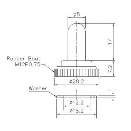 T-RB-3 Rubber Boot Product Dimensions