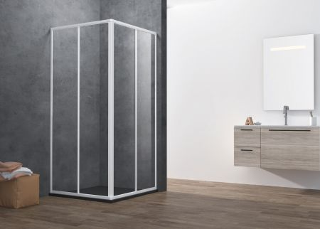 ATMAN promotional corner shower enclosures with 4mm two sliding glass shower doors magetinc profile handle and white painting finish - A1401S. 4MM-FULL-FRAMED (A1401S)