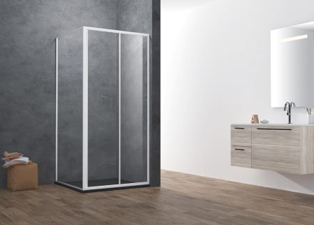 ATMAN promotional two sliding shower doors with 4mm one door sliding  magetinc profile handle and white painting finish - A1404S. 4MM-FULL-FRAMED (A1404S)