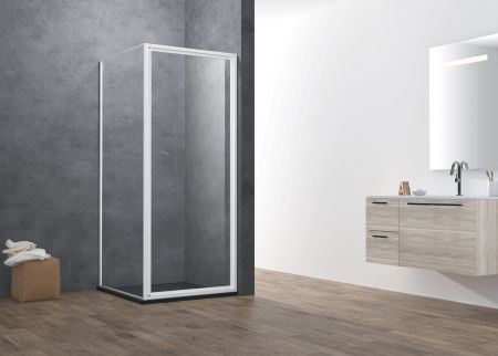 ATMAN promotional  pivot shower door with 4mm one door opening inwards and outwards magetinc profile handle and white painting finish - A1406S. 4MM-FULL-FRAMED (A1406S)