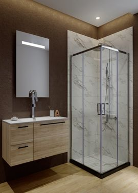 ATMAN corner shower enclosures two sliding doors open and two fixed glass with 6mm clear tempered glass shower cubicle chromed profile - A1610. Zen Slim Series(A1610)