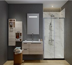 ATMAN two sliding shower doors one sliding door and one fixed glass with 6mm clear tempered glass chrome finish with low profile - A1611. Zen Slim Series(A1611)