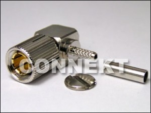 1.6/5.6 Plug Crimp For RG179 Cable, Right Angle 75ohm
