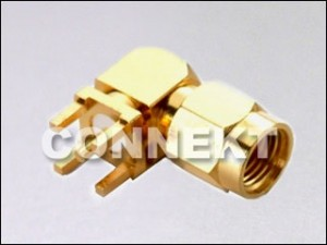 SMA Plug For P.C.B Mount (4 Legs), Right Angle