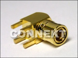 SMB Plug For P.C.B Mount (4 Legs), Right Angle