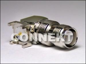 Conector TNC para montagem em PCB, ângulo reto