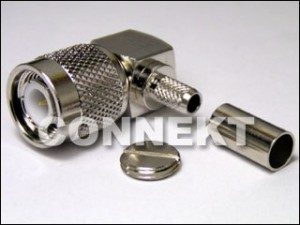 TNC Plug, Right Angle (Crimp)