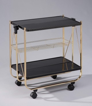 Foldable Steel Plate Serving Trolley Cart - SA016. Folding Trolley Black Color Steel Plate SA016BB (brass plating)/ SA016-BG (golding plating)