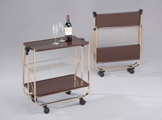Foldable Steel Plate Serving Trolley Cart - SA016. Folding Trolley Coffee Color Steel Plate SA016CB (brass plating)/ SA016-CG (golding plating)