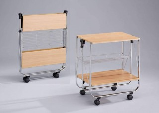 Foldable Wood Serving Trolley Cart - SA016M. Folding Trolley MDF SA016M beech color