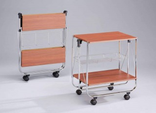 Foldable Wood Serving Trolley Cart - SA016M. Folding Trolley MDF SA016M cherry color