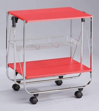 Foldable Wood Serving Trolley Cart - SA016M. Folding Trolley MDF SA016M red color