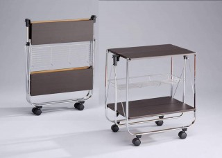 Foldable Wood Serving Trolley Cart - SA016M. Folding Trolley MDF SA016M wenge color