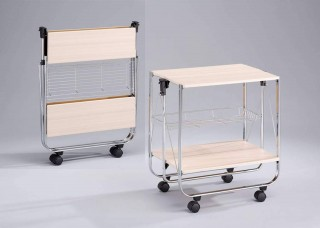 Foldable Wood Serving Trolley Cart - SA016M. Folding Trolley MDF SA016M white-wash color