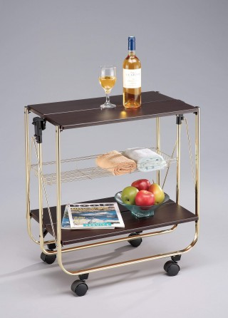 Foldable Wood Serving Trolley Cart - SA016M. Folding Trolley MDF SA016M walnut color (optional brass or gold plating)