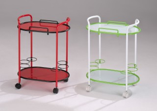 Glass Wine Trolley Cart - SA058. Movable Tabletop Plate Glass Hotel Trolley