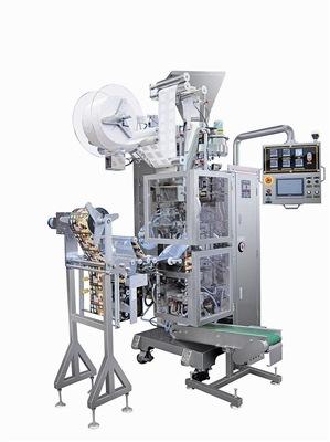 忠山机械所推出的JS-32滤泡式挂耳咖啡全自动计量充填包装机(含震动器)。